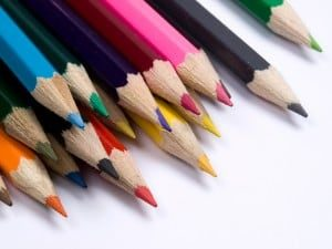 Set from multicolored  pencils.