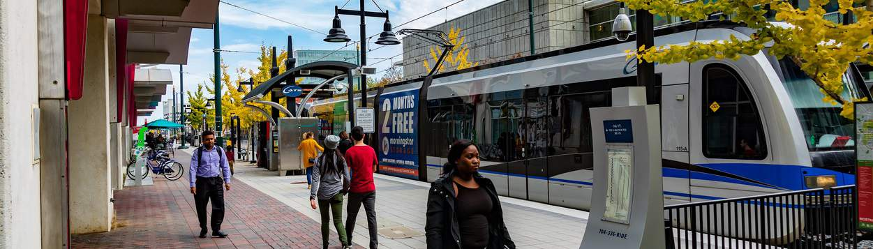 Charlotte, NC, USA-11/08/18: Seventh Street Station for Charlotte's Area Transit System, CATS.