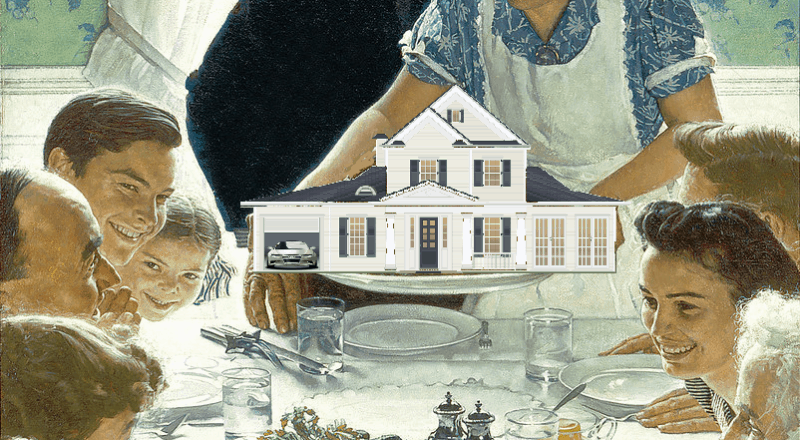 A family around a thanksgiving dinner table, a woman serving a small house on a platter